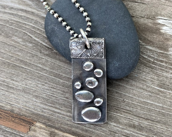 Silver Pendant Artisan Statement Jewelry Edgy Modern Raw Rustic Earthy Hand Sculpted JOURNEY Stepping Stones Eco Friendly Gifts For Her