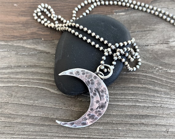 Crescent Moon Necklace Silver Jewelry Twilight Necklace Silver Hammered Moon Charm Symbol Artisan Made Organic Earthy Recycled
