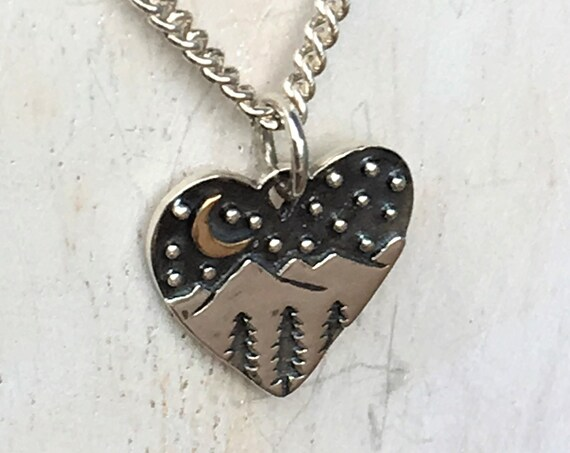 Silver Mountain Range Pine Tree Crescent Moon Necklace Heart Simple Jewelry Petite, Vacation Hiking /Trail Travel Charm Gifts For Her
