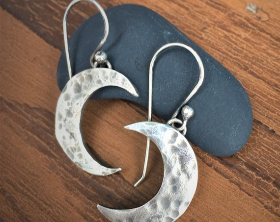 Moon Earrings, Crescent Moon, Raw Sterling Silver Hammered Dangle Earrings Metal Work Designer Jewelry Twilight