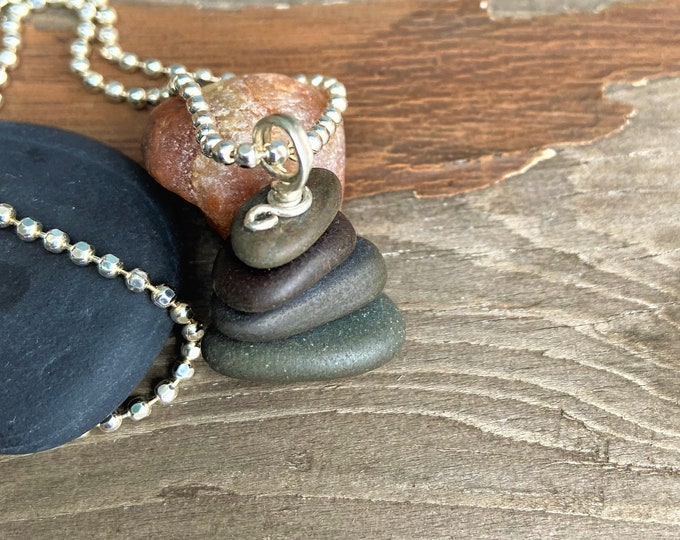 """Natural Stone Jewelry Beach Stone Cairn Necklace Vacation Travel Organic Pebble Hiking Outdoors Earthy Natural Stone Jewelry """"Zen Moment"""""""