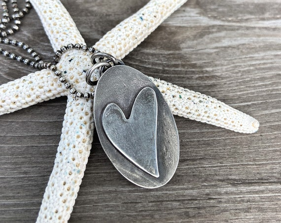 Simple Heart Oval Necklace Sterling Silver Jewelry Rustic Modern Raw Eco Friendly Organic Handcrafted Heart Everyday Wear Mothers Day
