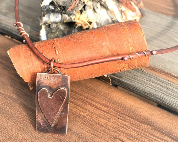 Copper Heart Necklace Rustic, Earthy, Simple Jewelry, Heart Pendant Modern Hippie Boho Unique Jewelry Artisan Made Hancrafted Gifts For Her
