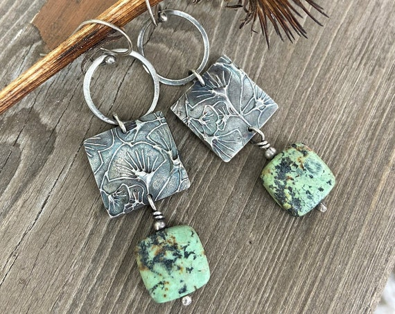 Modern Hippie Hoop and Gingko motif Square Earrings Rustic Raw Silver Earrings Textured Turquoise Bead One of a Kind Earrings Gifts For Her