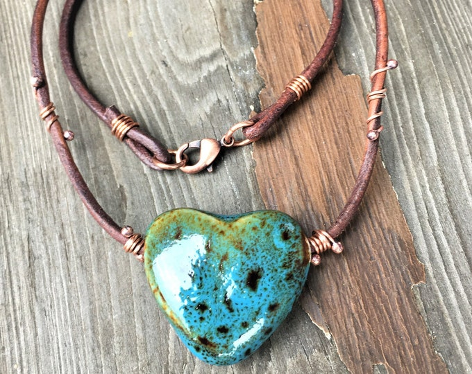 Heart Necklace Rustic, Earthy, Simple Jewelry, Porcelain Heart Pendant Wire Wrapped Jewelry Modern Hippie Boho Artisan Made Gifts For Her