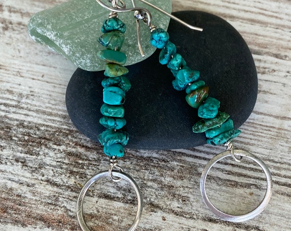 Turquoise Earrings Sterling Silver Hoop Long Dangle Earrings Rustic Earthy Organic Hippie Bo Ho
