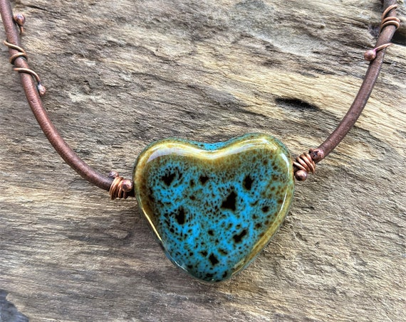 Hippie Bohemian Heart Jewelry Handmade Rustic Wire Wrapped Copper Leather Necklace Blue Green ceramic Heart Statement Piece Everyday Casual