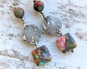 Boho Earrings Sterling Silver Long Dangle Earrings Jasper Multi colored Bead Earrings Rustic Jewelry Modern Hippie Rustic Earthy Earrings
