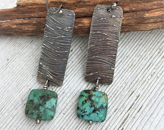Modern Hippie Rectangle Bar Earrings Rustic Raw Silver Earrings Textured Turquoise Bead One of a Kind Earrings Gifts For Her