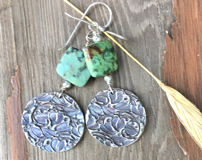 Turquoise Earrings Sterling Silver Hippie Boho Dangle Circle Earrings Everyday Jewelry Nature Modern Gifts for Her