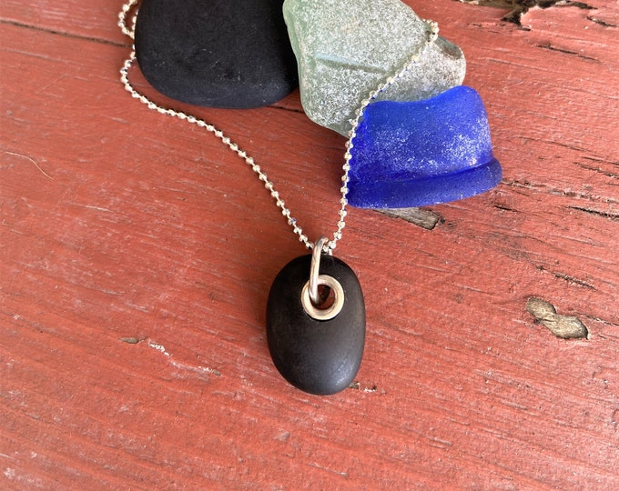 Simple Stone Jewelry Beach Pebble Necklace Earthy Handmade Sterling Silver Riveted Lake Superior Stone Organic Nature Lover Jewelry