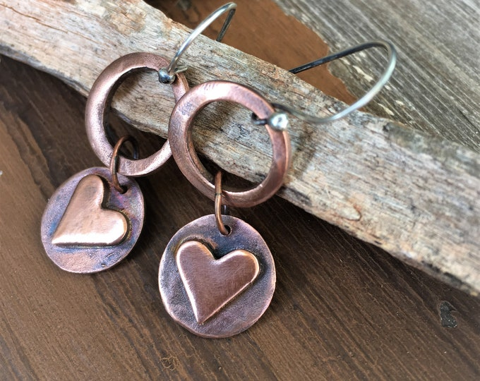 Copper Heart Earrings Copper Jewelry Trendy Modern Dangle Earrings Rustic Earthy Artisan Made Valentines Day