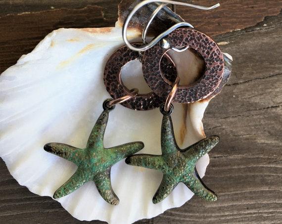 Starfish Earrings Copper Hoops Beach Wear Earrings Vacation Travel Jewelry Ocean Seashell Earrings