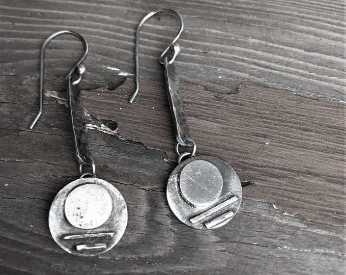Silver Moon Earrings Hammered Circle Dangle Long Drop Sterling Silver Full Moon Earthy Organic Eco Friendly, Gifts For Her