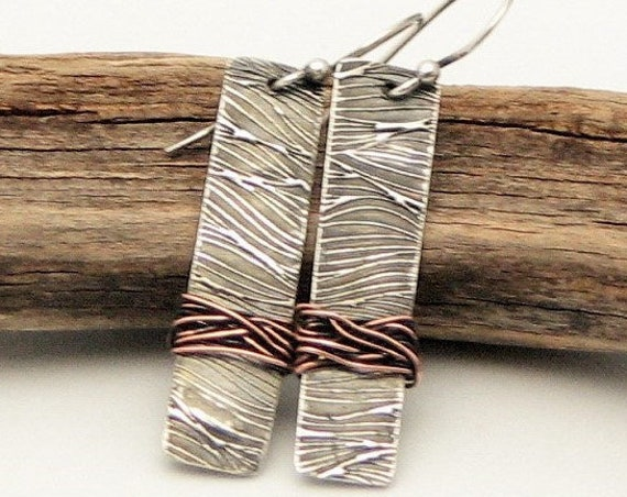Silver Bar  Earrings  Rustic Jewelry Rectangle Earrings Earthy Organic Mixed Metal Unique One of a Kind Gifts for Her