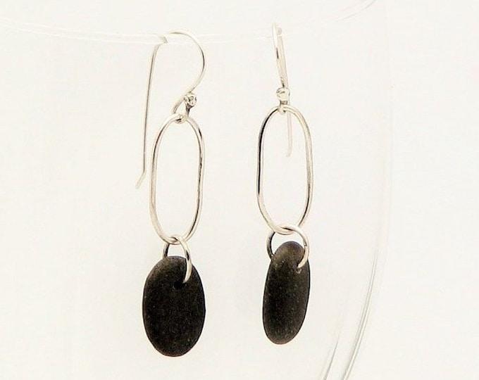 Beach Stone Dangle Pebble Earrings Silver Oblong Hoop Earrings Natural Earthy Rustic Jewelry Organic Elegant Everyday Earrings