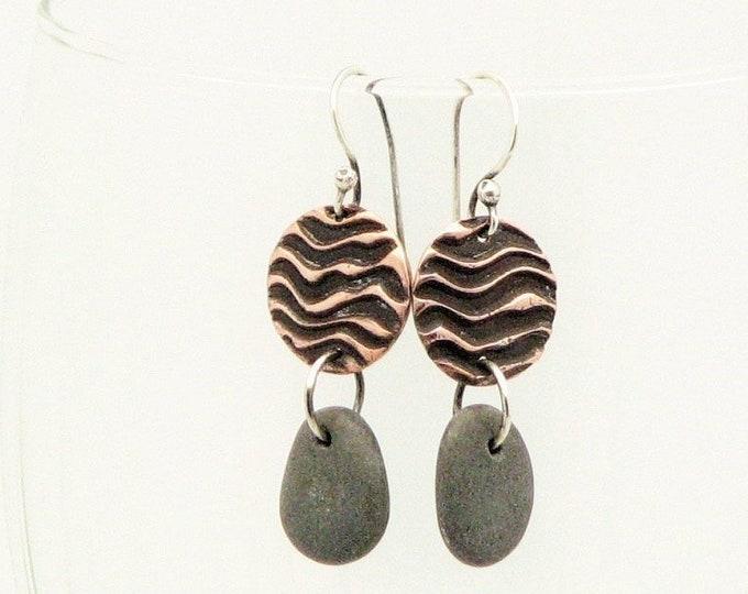 Beach Stone Dangle Earrings Copper Lake Superior Waves  River Rock Rustic Jewelry Organic Elegant Unique Earrings One of a Kind