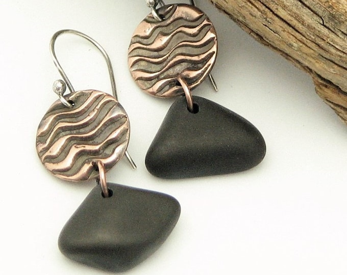 Beach Stone Dangle Earrings Copper Lake Superior Waves  River Rock Rustic Jewelry Organic Elegant Unique Earrings One of a Kind