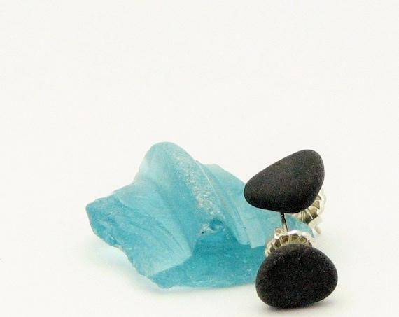 Beach Pebble Post  Earrings Sterling Silver Stud Earrings, Black Stone, Rustic Earthy Beach Stone Jewelry Organic Beach Wear