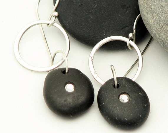 Pebble Earrings Beach Stone Dangle  Earrings Silver Hoop Natural Earthy Rustic Jewelry Organic Elegant Everyday Earrings