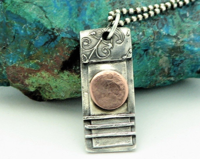 "Raw Sterling Silver Jewelry Mixed Metal Necklace Copper Moon Organic Jewelry Artisan Made Earth Jewlery Sunrise/Moon  Eco Friendly ""Sunrise"""
