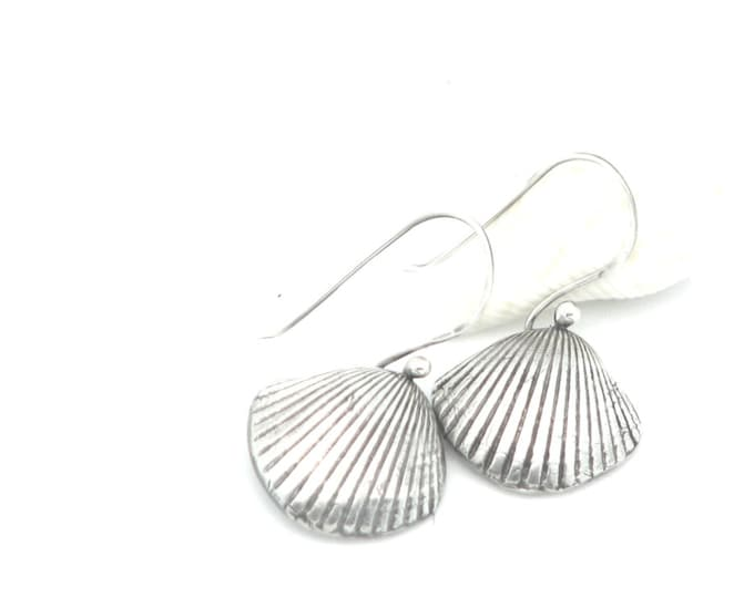 Sea Shell Earrings Small Dangle Earrings Sterling Silver Beach Wear Jewelry Nautical Jewelry Ocean Jewelry
