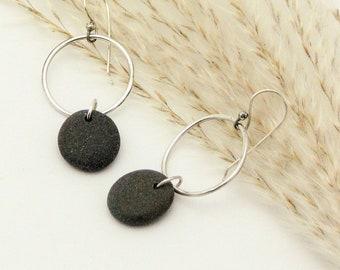 Handmade Sterling Silver Hoop Beach Stone Pebble Earrings Dangle Natural Earthy Rustic Stone Jewelry Organic Elegant Everyday Earrings