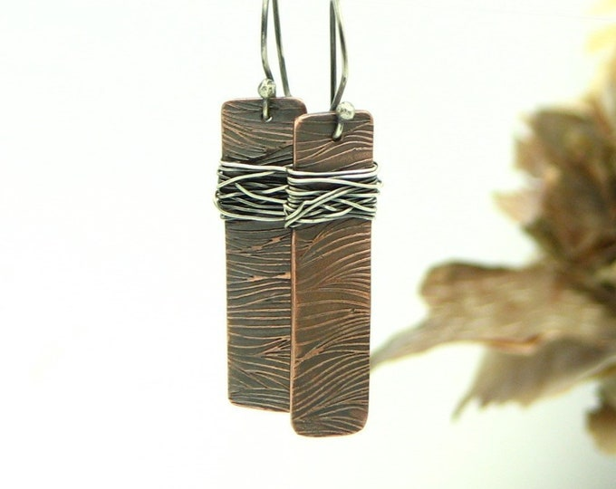 Copper Earrings Rustic Jewelry Rectangle Bar Earrings Earthy Organic Mixed Metal Unique One of a Kind Gifts for Her