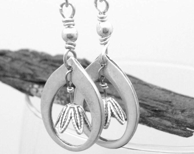 Tear Drop Earrings Sterling Silver Dangle Earrings Tulip  Everyday Earrings  Minamalist Jewelry Long Silver Metal Work Gifts For Her