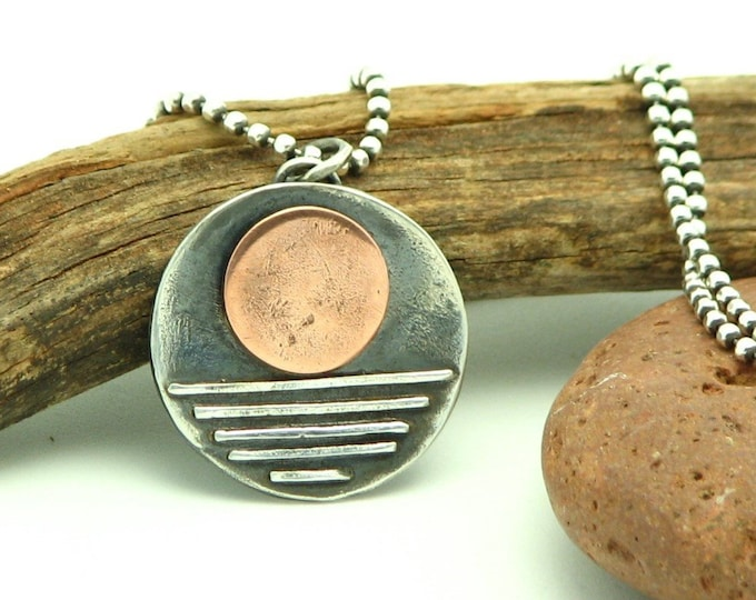 "Rustic Silver Jewelry Sun and Moon Necklace Copper and Sterling Silver Mixed Metal Artisan Rustic Earth Eco Friendly ""Full Moon"" Organic"