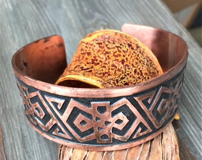Copper Cuff Southwest Rustic Native American Vintage Bracelet Tribal Design Copper Jewelry Modern Hippie Jewelry
