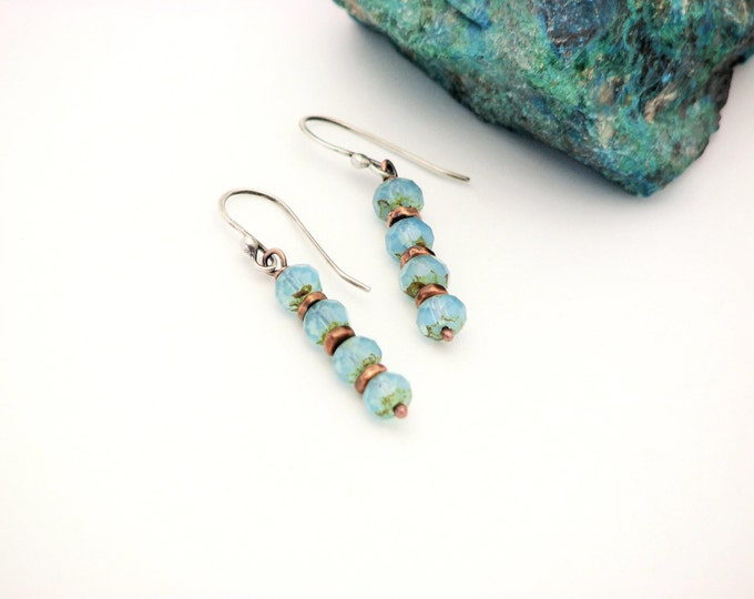 Copper Dangle Earrings Ocean Blue Opalite Glass Bead Everyday Jewelry Drop Earrings Handmade Gifts for Her