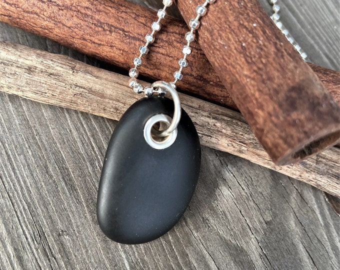Beach Stone Jewelry Black Stone Necklace Sterling Silver Riveted Lake Superior Stone Vacation Travel Hiking Outdoors Organic Earthy Jewelry