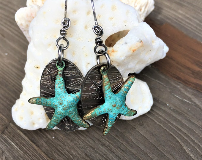 Starfish Earrings Sterling Silver Beach Wear Earrings Vacation Travel Jewelry Ocean Seashell Earrings