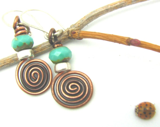 Spiral Copper Earrings Wire Wrapped Jewelry Dangle Handmade Earrings Rustic Tribal