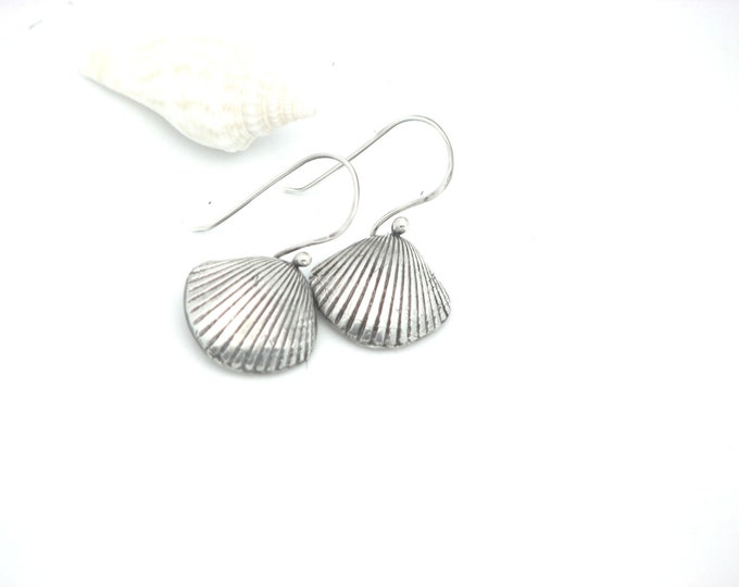 Sea Shell Dangle Earrings Sterling Silver Handcrafted Nautical Jewelry