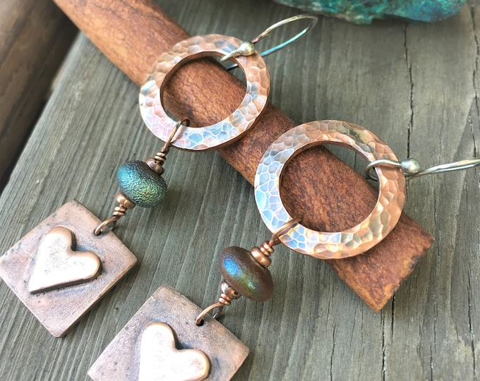 Heart Dangle Earrings Copper Jewelry Hammered Copper Modern Trendy Hippie Boho Rustic Jewelry Everyday Jewelry