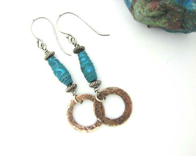 Long Dangle Copper Earrings Mixed Metal  Hammered Rustic Copper Circles Drop Earrings