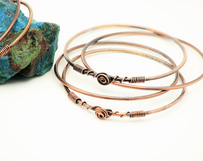 Copper Bangle Bracelets Handmade  Rustic Meditation stackable bracelets wire wrapped jewelry