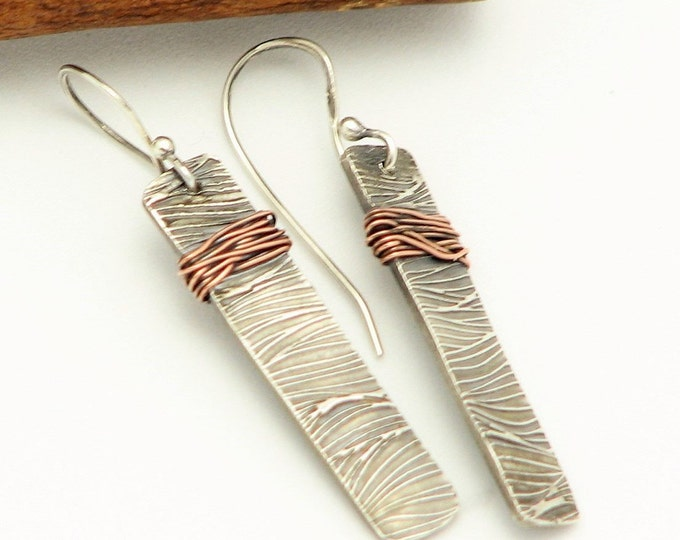 Rectangle Bar Dangle Earrings Mixed Metal Handmade Wire Wrapped Jewelry Rustic Silver Earrings Textured One of a Kind Earrings Gifts For Her