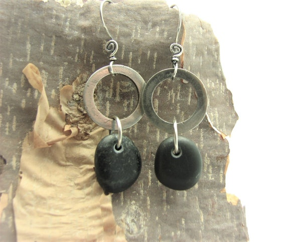 Pebble Earrings Raw Silver Hand Made Tribal Dangle Artisan Made River Rock Jewelry Beach Stone Rustic Earthy Eco Friendly Natural Stone