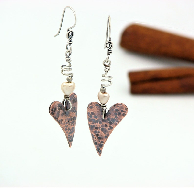 Heart Earrings Copper Jewelry Wire Wrapped Jewelry Hammered Copper Sterling Silver Mixed Metal Earrings Valentines Day