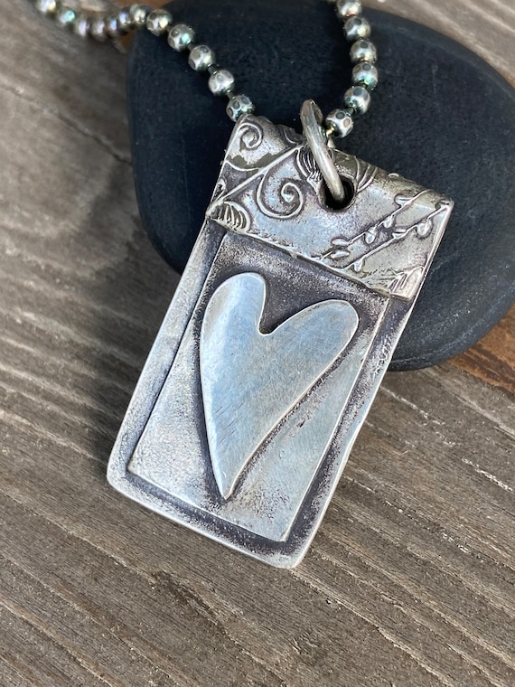 Heart Necklace Silver Pendant  Rustic, Earthy, Simple Jewelry, Metal Work, Unique Jewelry Dog Tag , Artisan Made Hancrafted Gifts For Her