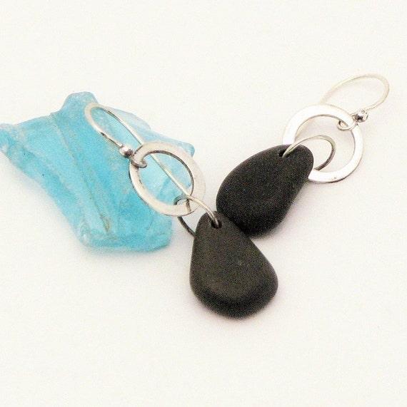 Earth Jewelry Beach Stone Dangle Pebble Earrings Silver Hoop Natural Stone Rustic Jewelry Organic Elegant Everyday Earrings