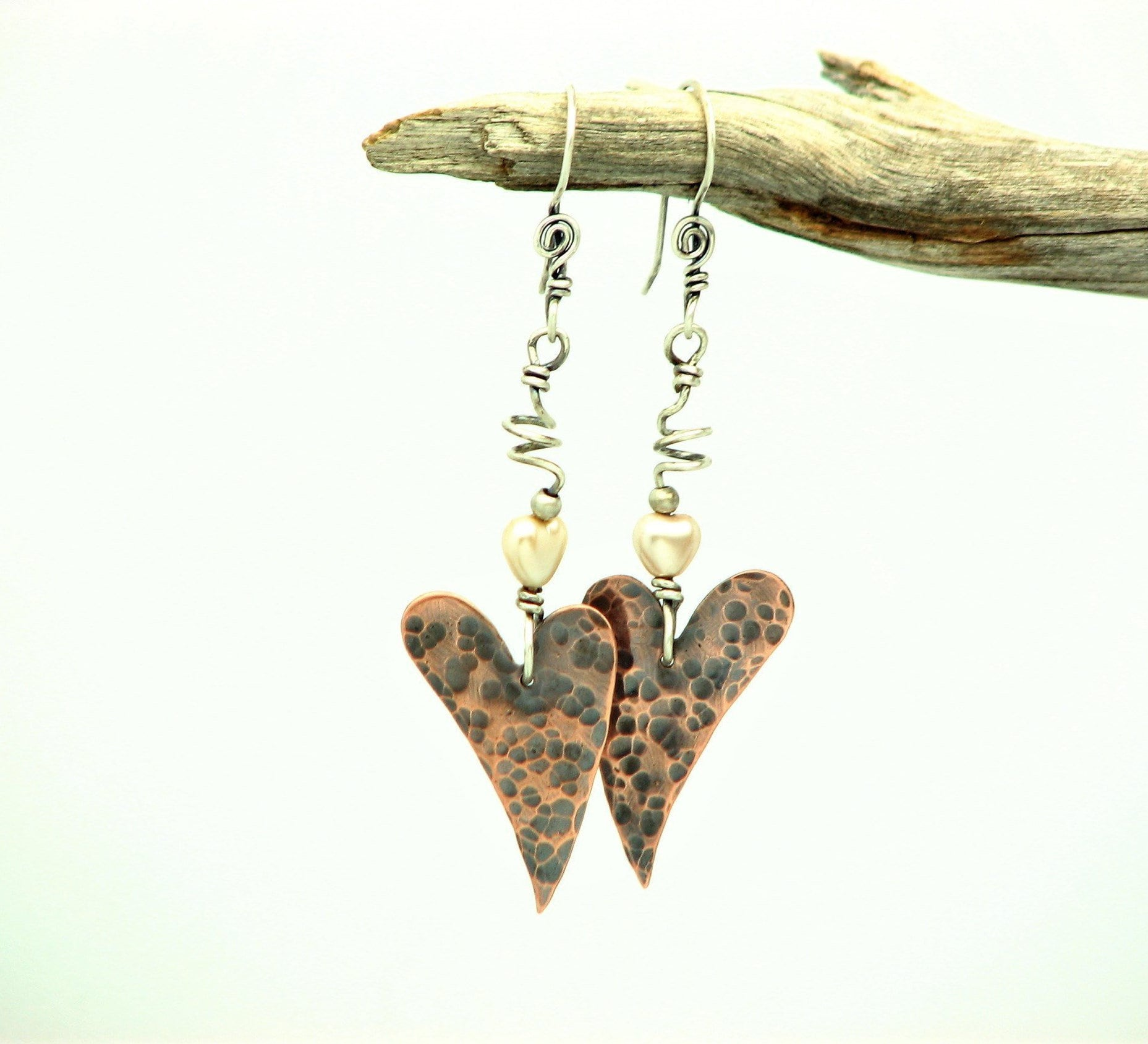 8565d2a96 Heart Earrings Copper Jewelry Wire Wrapped Jewelry Hammered ...