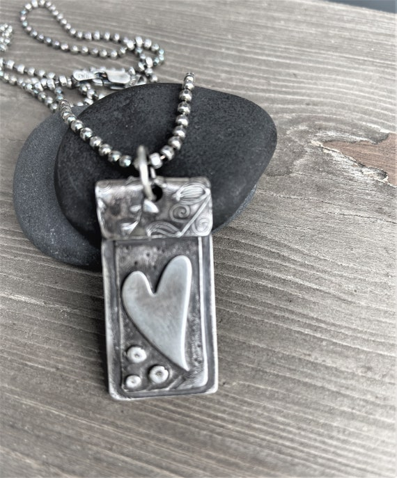 Heart Necklace Sterling Silver Pendant  Rustic, Earthy, Simple Jewelry, Unique Jewelry Dog Tag , Artisan Made Hancrafted Gifts For Her