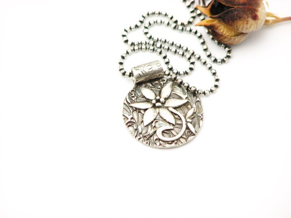 Silver Flower Necklace Nature Jewelry Metal Work Organic Elegant Botonical Earth Necklace Unique Artisan Made Eco friendly Recycled Silver