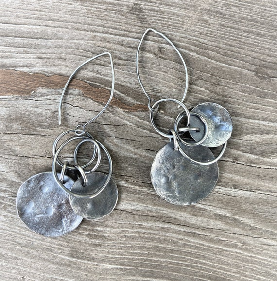 Silver Hoop Earrings, Hammered Rustic Raw Modern ,Oxidized Long Drop Sterling Silver Full Moon Earthy, Organic Eco Friendly, Gifts For Her