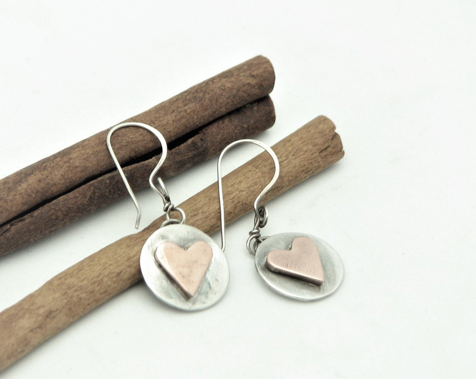 9e6aa3215 Heart Earrings Mixed Metal Copper and Silver Jewelry Trendy Modern ...