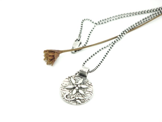 Silver Flower Pendant Botanical Nature Jewelry Earth Necklace Artisan Made Eco friendly Petite Necklace